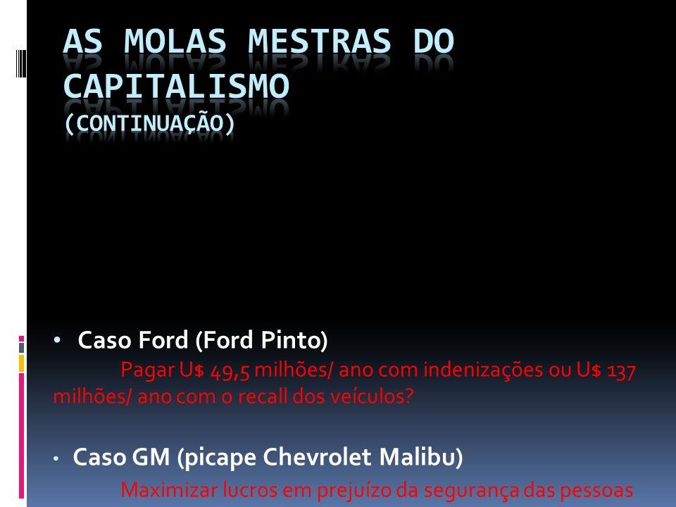 Caso Ford (Ford Pinto) Pagar U$ 49,5 milhões/ ano com indenizações ou U$ 137 milhões/ ano com o recall dos veículos? Caso GM (picape Chevrolet Malibu)
