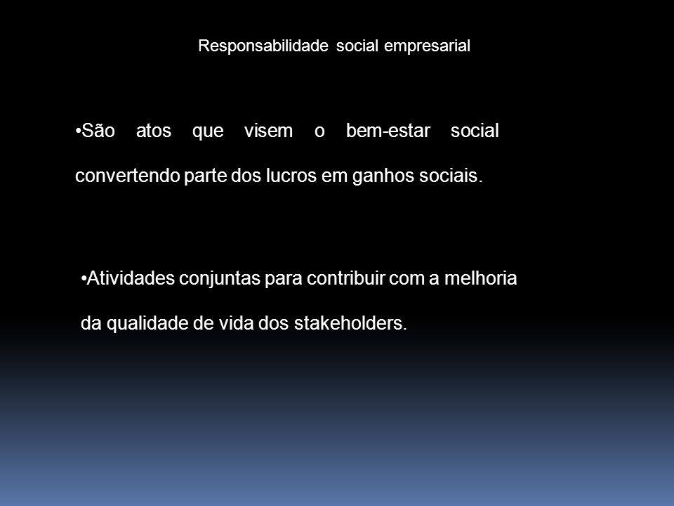 Responsabilidade social empresarial São atos que visem o bem-estar social convertendo parte dos lucros em ganhos sociais. Atividades conjuntas para co