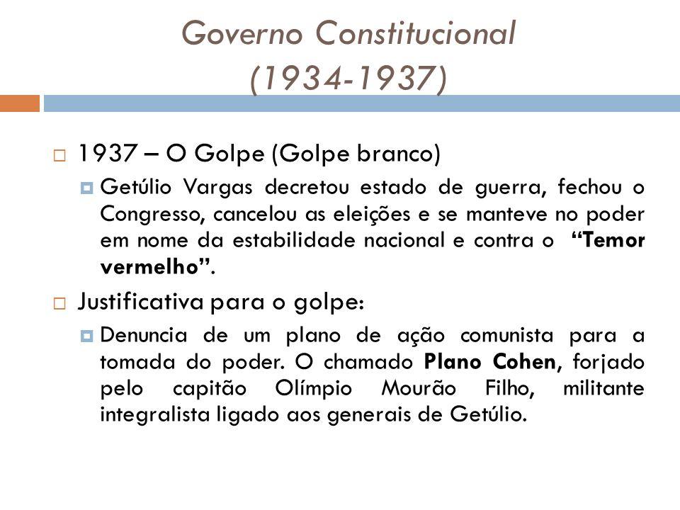 Governo Constitucional (1934-1937) 1937 – O Golpe (Golpe branco) Getúlio Vargas decretou estado de guerra, fechou o Congresso, cancelou as eleições e se manteve no poder em nome da estabilidade nacional e contra o Temor vermelho.