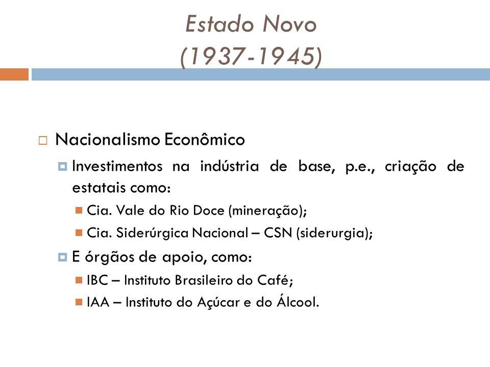 Estado Novo (1937-1945) Nacionalismo Econômico Investimentos na indústria de base, p.e., criação de estatais como: Cia.