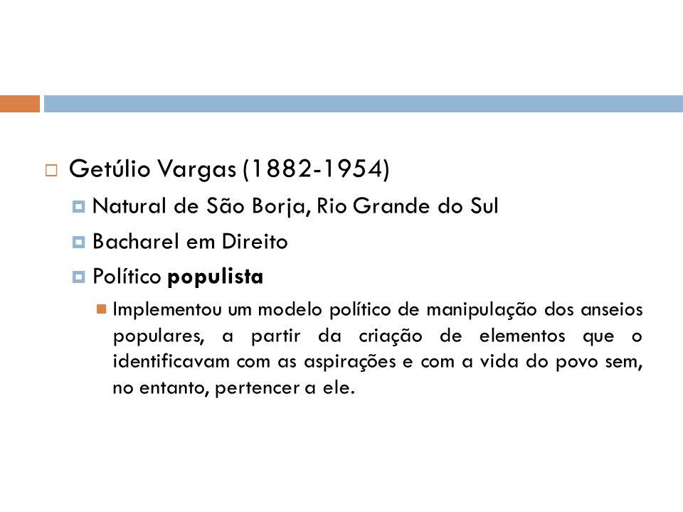 Getúlio Vargas (1882-1954) Natural de São Borja, Rio Grande do Sul Bacharel em Direito Político populista Implementou um modelo político de manipulação dos anseios populares, a partir da criação de elementos que o identificavam com as aspirações e com a vida do povo sem, no entanto, pertencer a ele.