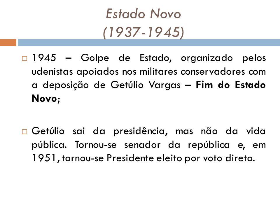 Estado Novo (1937-1945) 1945 – Golpe de Estado, organizado pelos udenistas apoiados nos militares conservadores com a deposição de Getúlio Vargas – Fim do Estado Novo; Getúlio sai da presidência, mas não da vida pública.