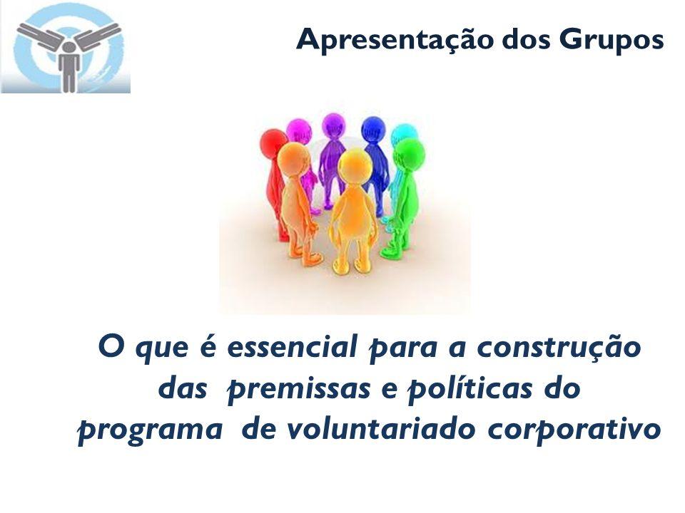 Apresentação dos Grupos O que é essencial para a construção das premissas e políticas do programa de voluntariado corporativo