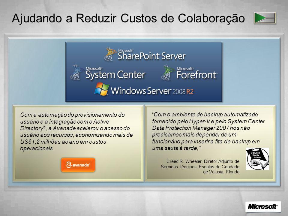 Ajudando a Reduzir Custos de Colaboração Com a automação do provisionamento do usuário e a integração com o Active Directory ®, a Avanade acelerou o a