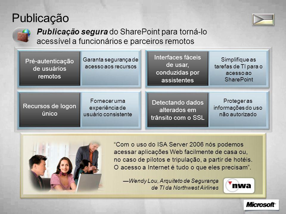 Publicação Publicação segura do SharePoint para torná-lo acessível a funcionários e parceiros remotos Pré-autenticação de usuários remotos Interfaces