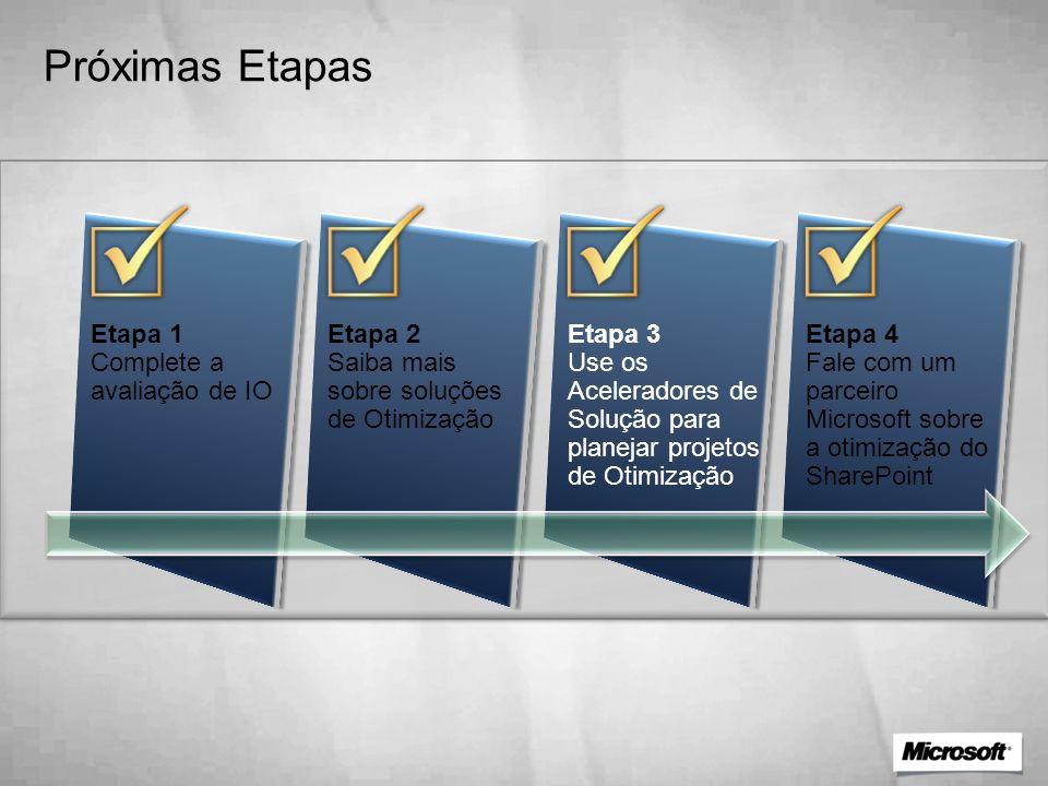 Próximas Etapas Etapa 1 Complete a avaliação de IO Etapa 2 Saiba mais sobre soluções de Otimização Etapa 3 Use os Aceleradores de Solução para planeja