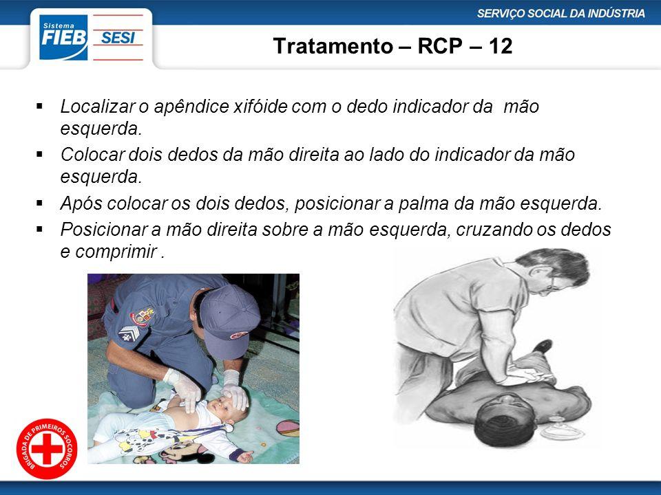Tratamento – RCP – 12 Localizar o apêndice xifóide com o dedo indicador da mão esquerda. Colocar dois dedos da mão direita ao lado do indicador da mão