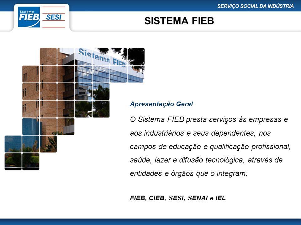SISTEMA FIEB Apresentação Geral O Sistema FIEB presta serviços às empresas e aos industriários e seus dependentes, nos campos de educação e qualificaç