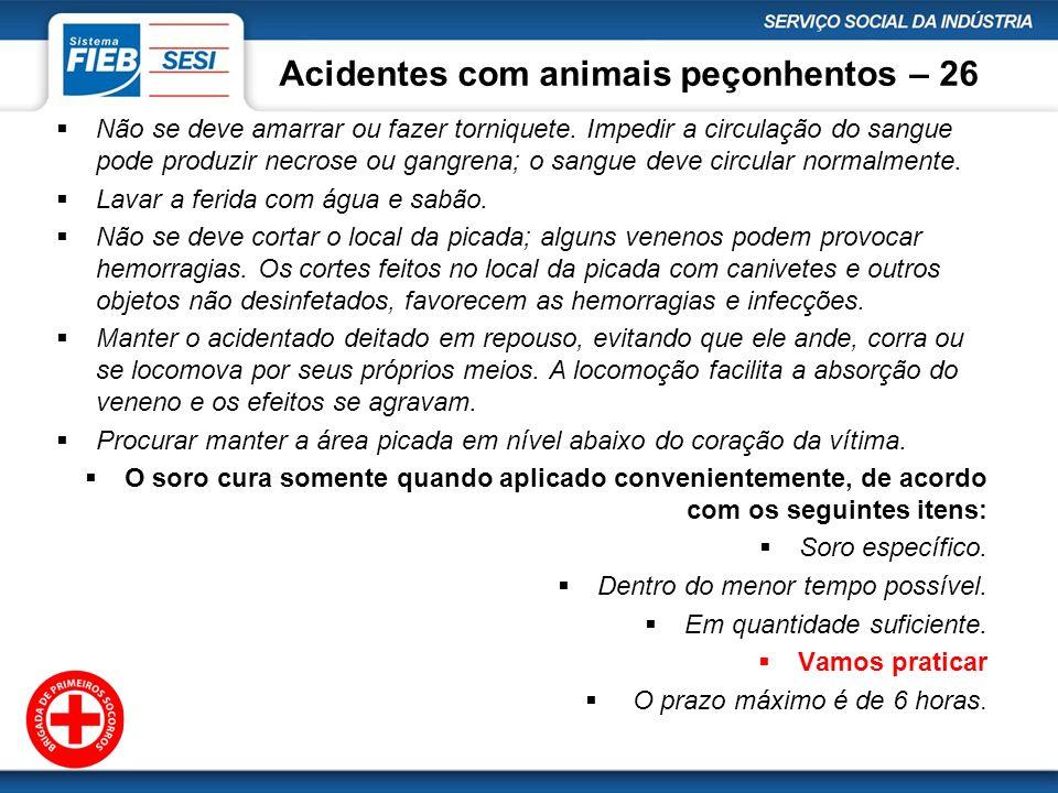 Acidentes com animais peçonhentos – 26 Não se deve amarrar ou fazer torniquete. Impedir a circulação do sangue pode produzir necrose ou gangrena; o sa