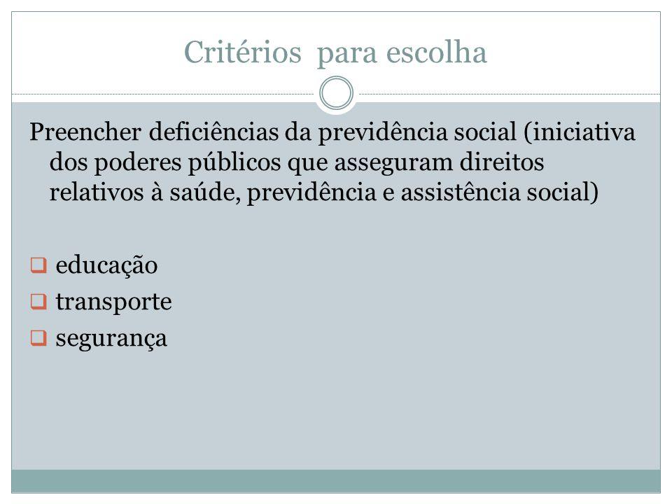 Critérios para escolha Preencher deficiências da previdência social (iniciativa dos poderes públicos que asseguram direitos relativos à saúde, previdê