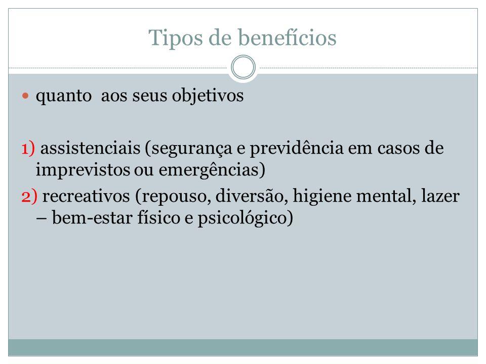 Tipos de benefícios quanto aos seus objetivos 1) assistenciais (segurança e previdência em casos de imprevistos ou emergências) 2) recreativos (repous