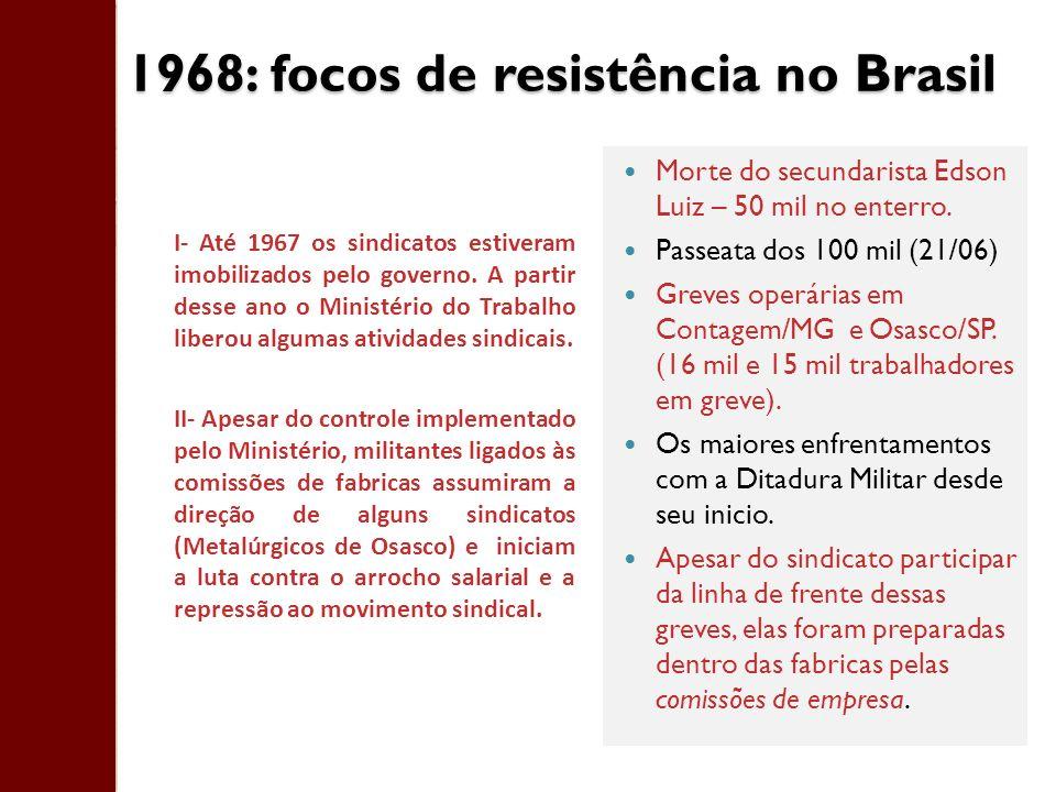 1968: focos de resistência no Brasil Morte do secundarista Edson Luiz – 50 mil no enterro. Passeata dos 100 mil (21/06) Greves operárias em Contagem/M