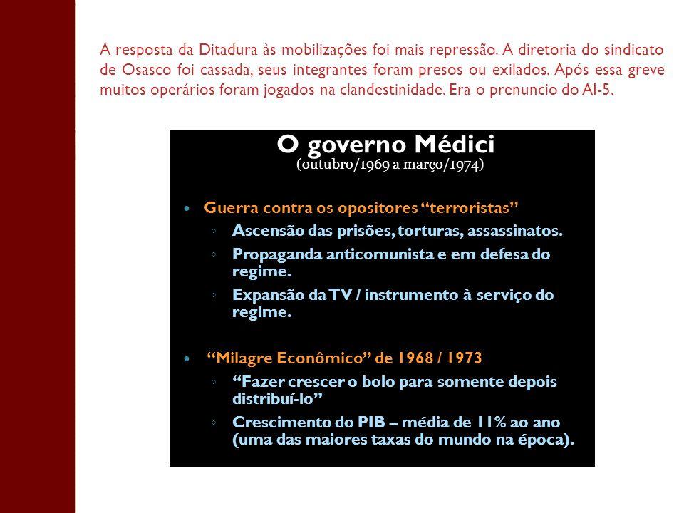 A resposta da Ditadura às mobilizações foi mais repressão. A diretoria do sindicato de Osasco foi cassada, seus integrantes foram presos ou exilados.