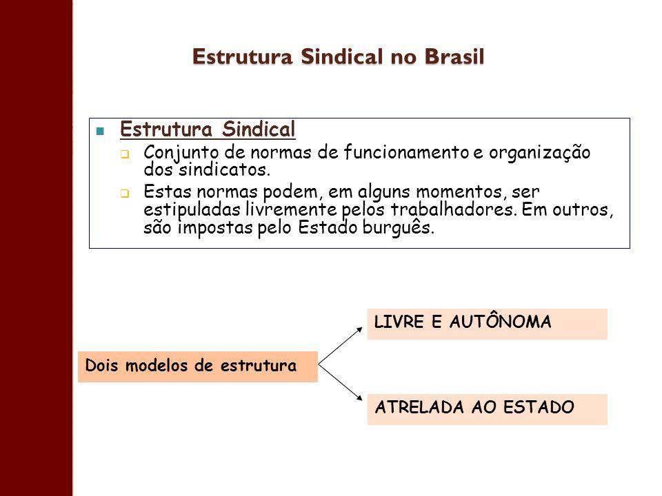 Estrutura Sindical no Brasil Estrutura Sindical Conjunto de normas de funcionamento e organização dos sindicatos. Estas normas podem, em alguns moment