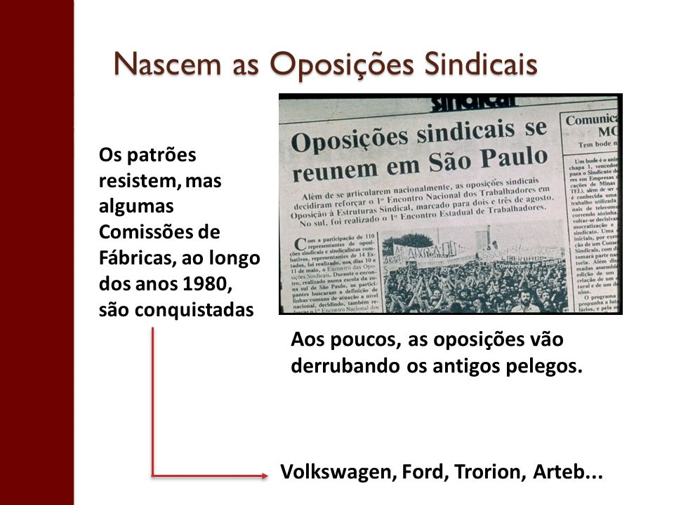 Nascem as Oposições Sindicais Os patrões resistem, mas algumas Comissões de Fábricas, ao longo dos anos 1980, são conquistadas Volkswagen, Ford, Trori