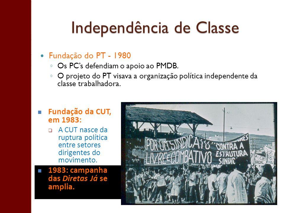 Independência de Classe Fundação do PT - 1980 Os PCs defendiam o apoio ao PMDB. O projeto do PT visava a organização política independente da classe t