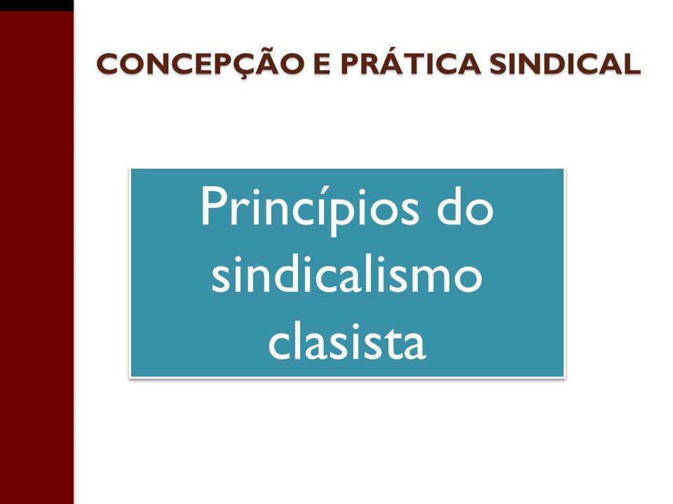 CONCEPÇÃO E PRÁTICA SINDICAL Princípios do sindicalismo clasista