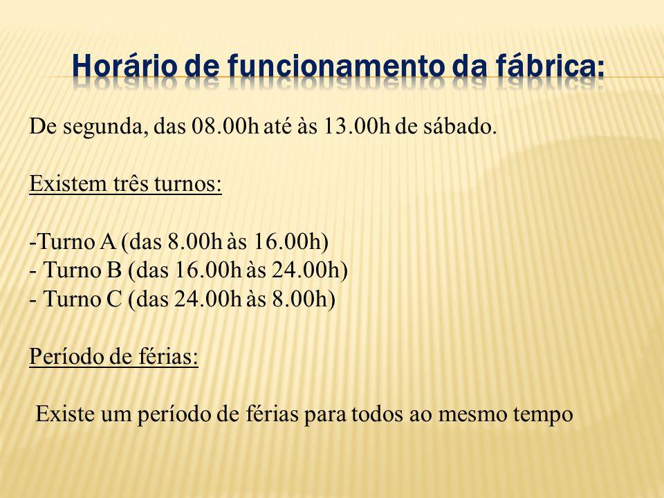 De segunda, das 08.00h até às 13.00h de sábado. Existem três turnos: -Turno A (das 8.00h às 16.00h) - Turno B (das 16.00h às 24.00h) - Turno C (das 24