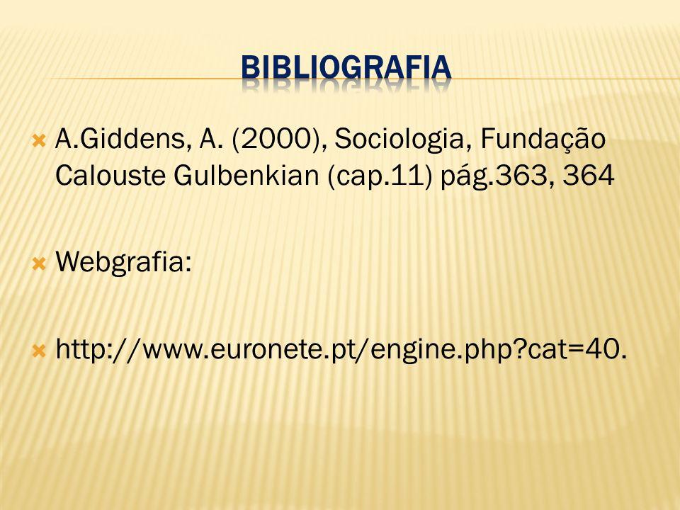 A.Giddens, A. (2000), Sociologia, Fundação Calouste Gulbenkian (cap.11) pág.363, 364 Webgrafia: http://www.euronete.pt/engine.php?cat=40.