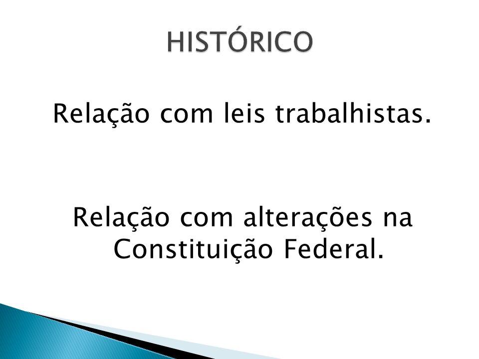 Relação com leis trabalhistas. Relação com alterações na Constituição Federal.