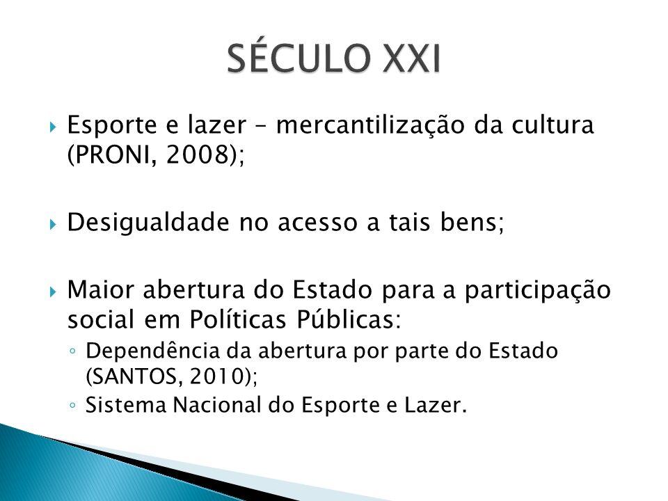 Esporte e lazer – mercantilização da cultura (PRONI, 2008); Desigualdade no acesso a tais bens; Maior abertura do Estado para a participação social em Políticas Públicas: Dependência da abertura por parte do Estado (SANTOS, 2010); Sistema Nacional do Esporte e Lazer.