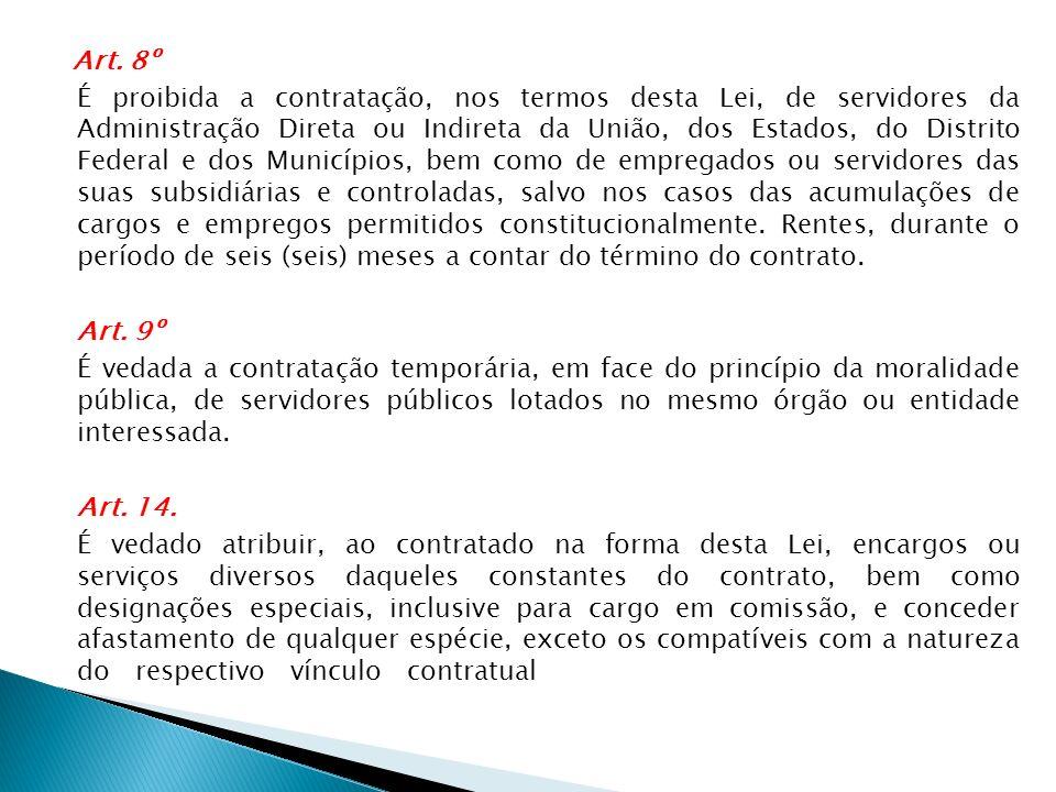 Art. 8º É proibida a contratação, nos termos desta Lei, de servidores da Administração Direta ou Indireta da União, dos Estados, do Distrito Federal e