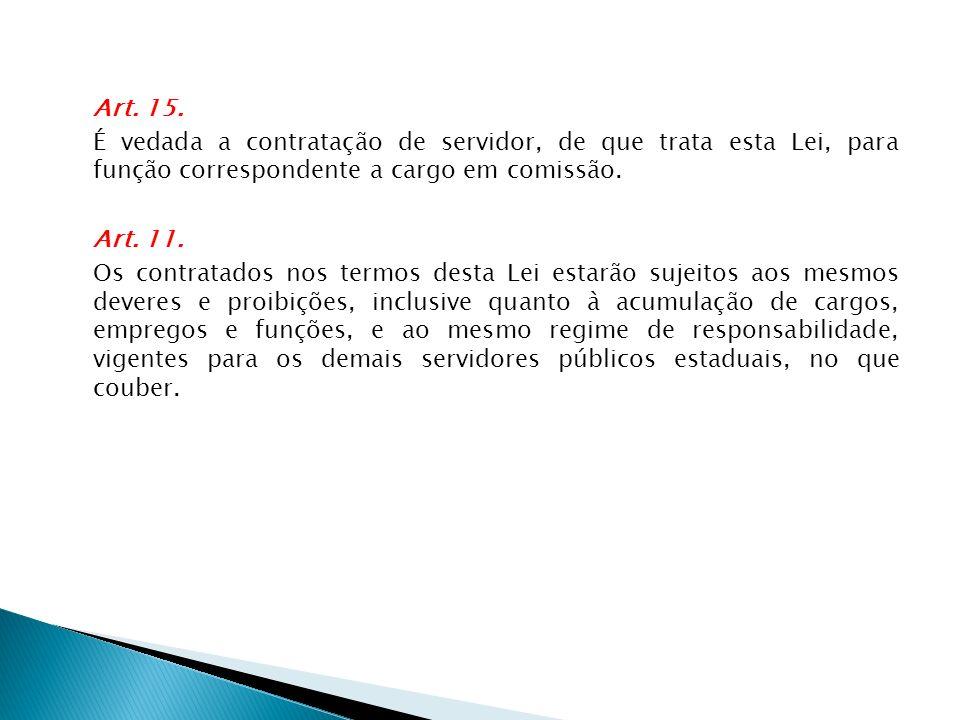 Art. 15. É vedada a contratação de servidor, de que trata esta Lei, para função correspondente a cargo em comissão. Art. 11. Os contratados nos termos
