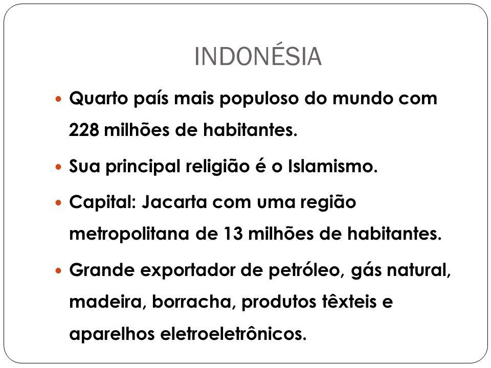 INDONÉSIA Quarto país mais populoso do mundo com 228 milhões de habitantes.