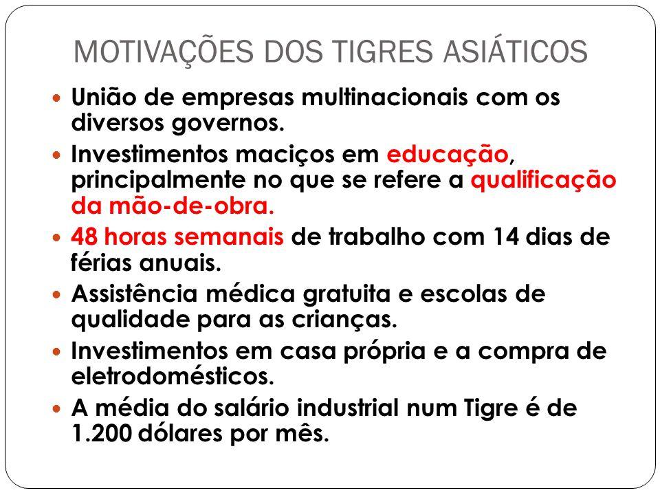 MOTIVAÇÕES DOS TIGRES ASIÁTICOS União de empresas multinacionais com os diversos governos.