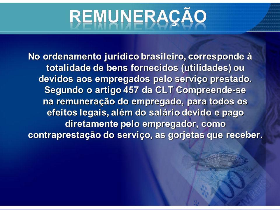 No ordenamento jurídico brasileiro, corresponde à totalidade de bens fornecidos (utilidades) ou devidos aos empregados pelo serviço prestado. Segundo
