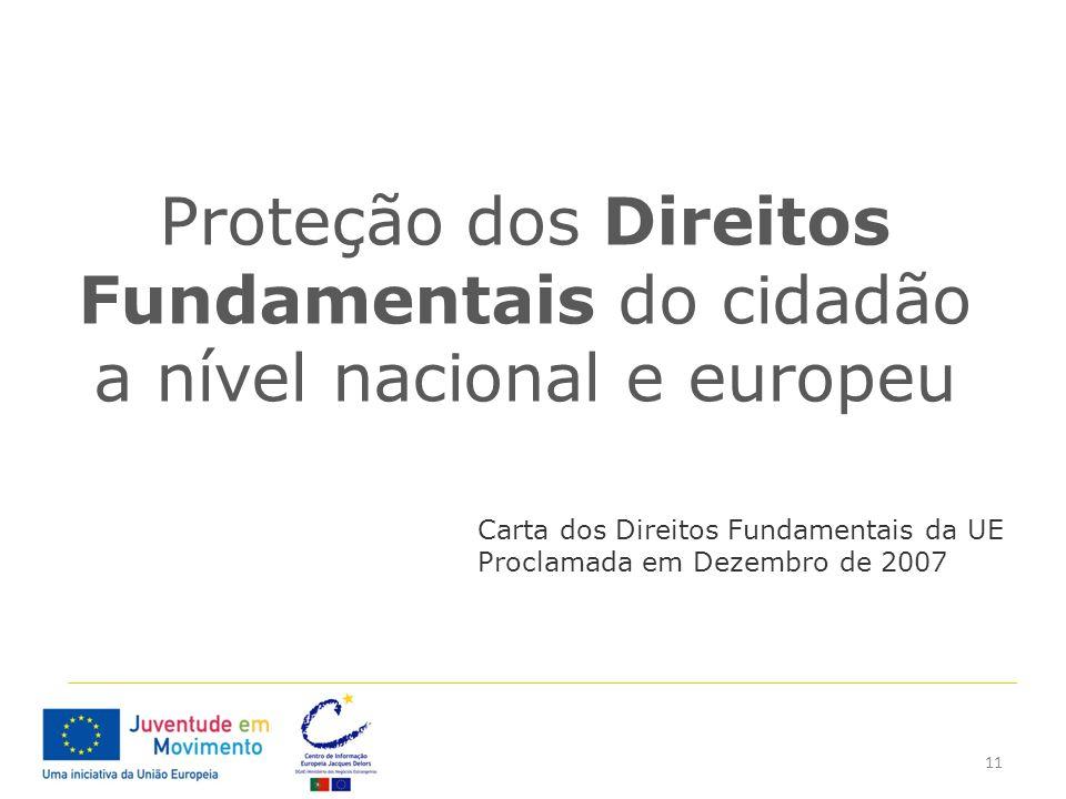 11 Proteção dos Direitos Fundamentais do cidadão a nível nacional e europeu Carta dos Direitos Fundamentais da UE Proclamada em Dezembro de 2007