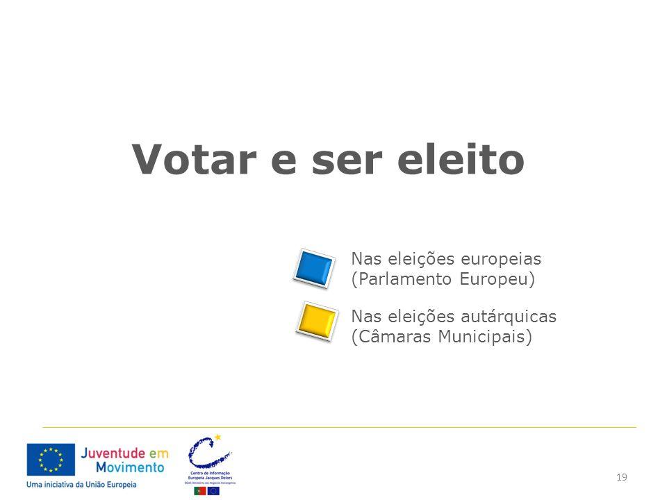 19 Votar e ser eleito Nas eleições europeias (Parlamento Europeu) Nas eleições autárquicas (Câmaras Municipais)