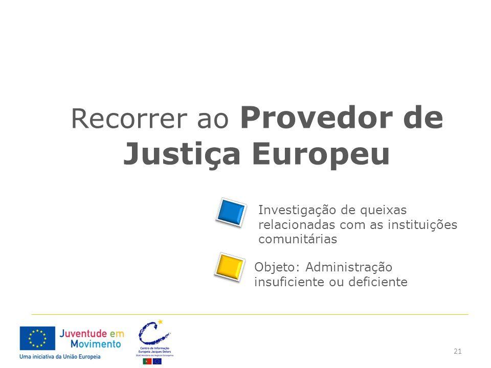 21 Recorrer ao Provedor de Justiça Europeu Investigação de queixas relacionadas com as instituições comunitárias Objeto: Administração insuficiente ou