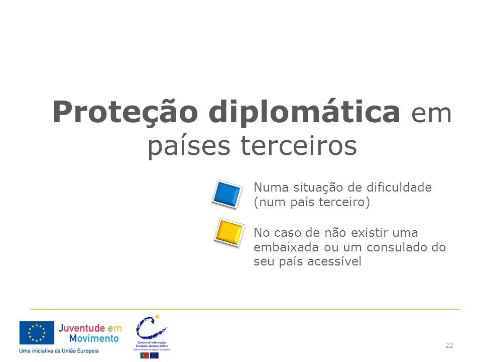 22 Proteção diplomática em países terceiros Numa situação de dificuldade (num país terceiro) No caso de não existir uma embaixada ou um consulado do s