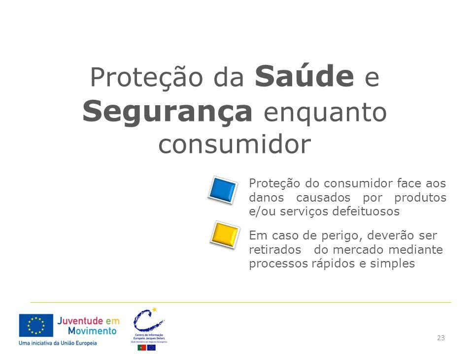 23 Proteção da Saúde e Segurança enquanto consumidor Proteção do consumidor face aos danos causados por produtos e/ou serviços defeituosos Em caso de