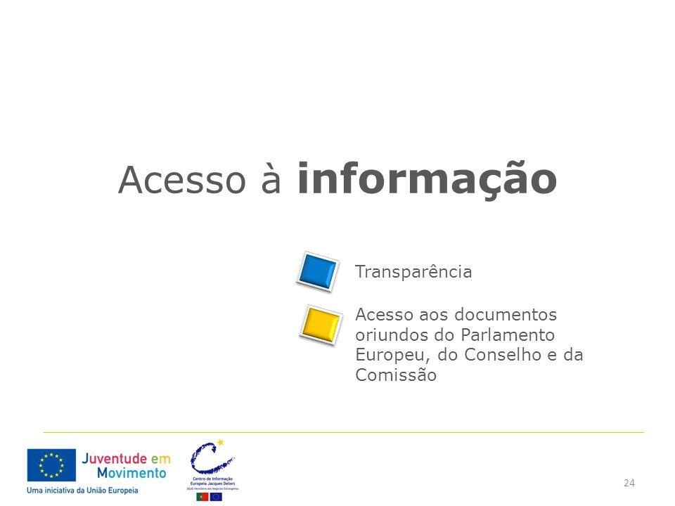 24 Acesso à informação Acesso aos documentos oriundos do Parlamento Europeu, do Conselho e da Comissão Transparência