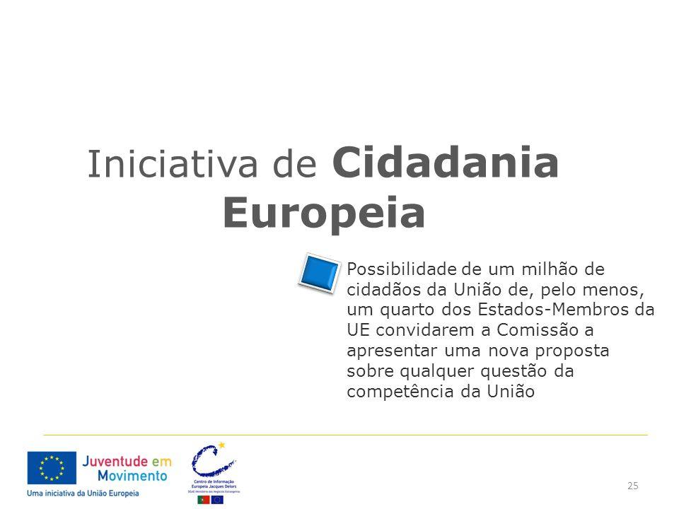 25 Iniciativa de Cidadania Europeia Possibilidade de um milhão de cidadãos da União de, pelo menos, um quarto dos Estados-Membros da UE convidarem a C