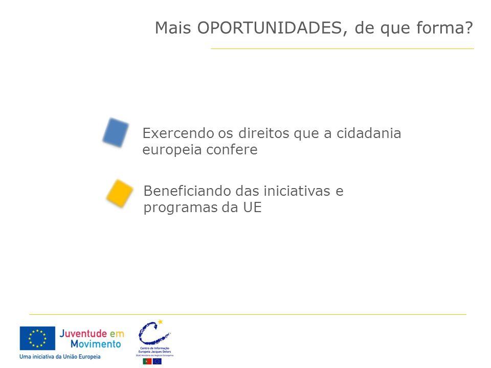 Mais OPORTUNIDADES, de que forma? Exercendo os direitos que a cidadania europeia confere Beneficiando das iniciativas e programas da UE