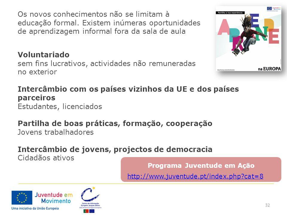 32 Programa Juventude em Ação Os novos conhecimentos não se limitam à educação formal. Existem inúmeras oportunidades de aprendizagem informal fora da