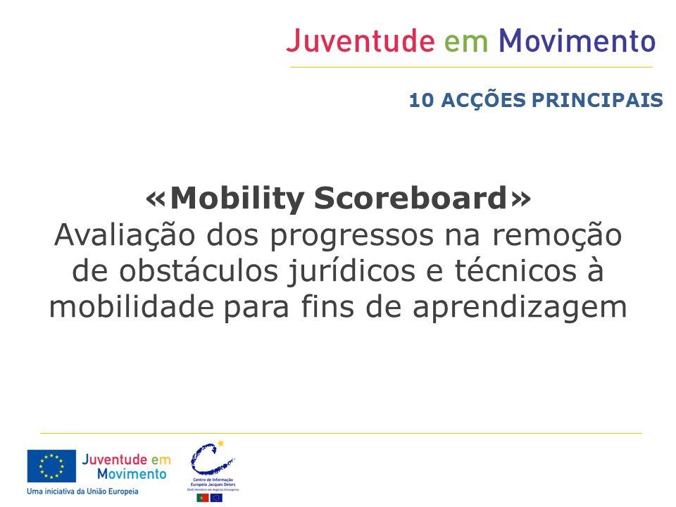 «Mobility Scoreboard» Avaliação dos progressos na remoção de obstáculos jurídicos e técnicos à mobilidade para fins de aprendizagem 10 ACÇÕES PRINCIPA