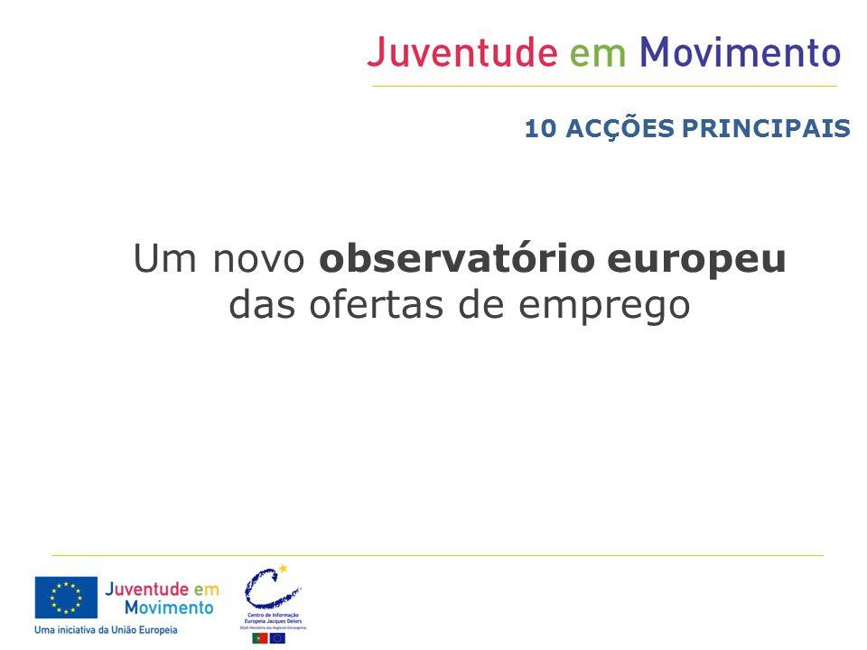 Um novo observatório europeu das ofertas de emprego 10 ACÇÕES PRINCIPAIS