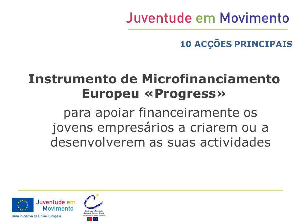 para apoiar financeiramente os jovens empresários a criarem ou a desenvolverem as suas actividades Instrumento de Microfinanciamento Europeu «Progress