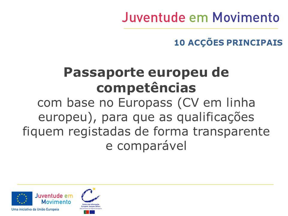 Passaporte europeu de competências com base no Europass (CV em linha europeu), para que as qualificações fiquem registadas de forma transparente e com