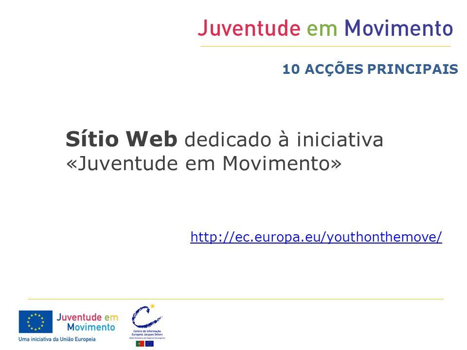 Sítio Web dedicado à iniciativa «Juventude em Movimento» http://ec.europa.eu/youthonthemove/ 10 ACÇÕES PRINCIPAIS
