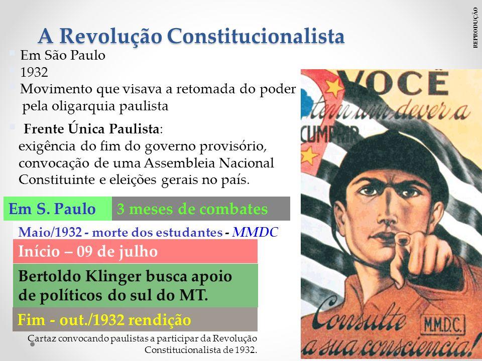 Em São Paulo 1932 Movimento que visava a retomada do poder pela oligarquia paulista Frente Única Paulista: exigência do fim do governo provisório, convocação de uma Assembleia Nacional Constituinte e eleições gerais no país.