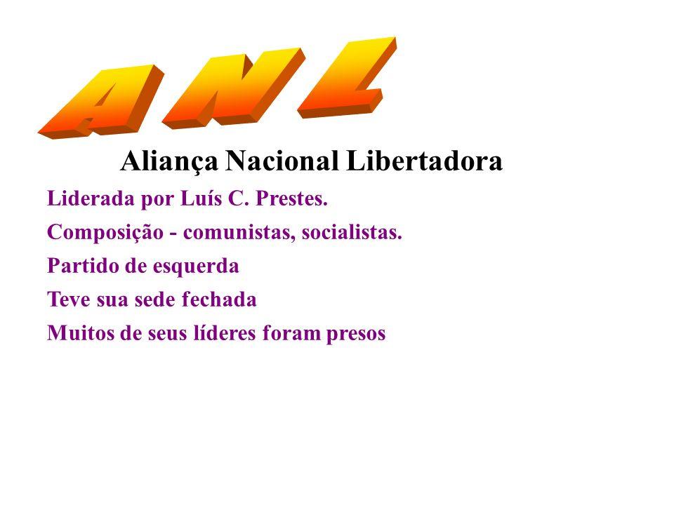 Aliança Nacional Libertadora Liderada por Luís C. Prestes. Composição - comunistas, socialistas. Partido de esquerda Teve sua sede fechada Muitos de s