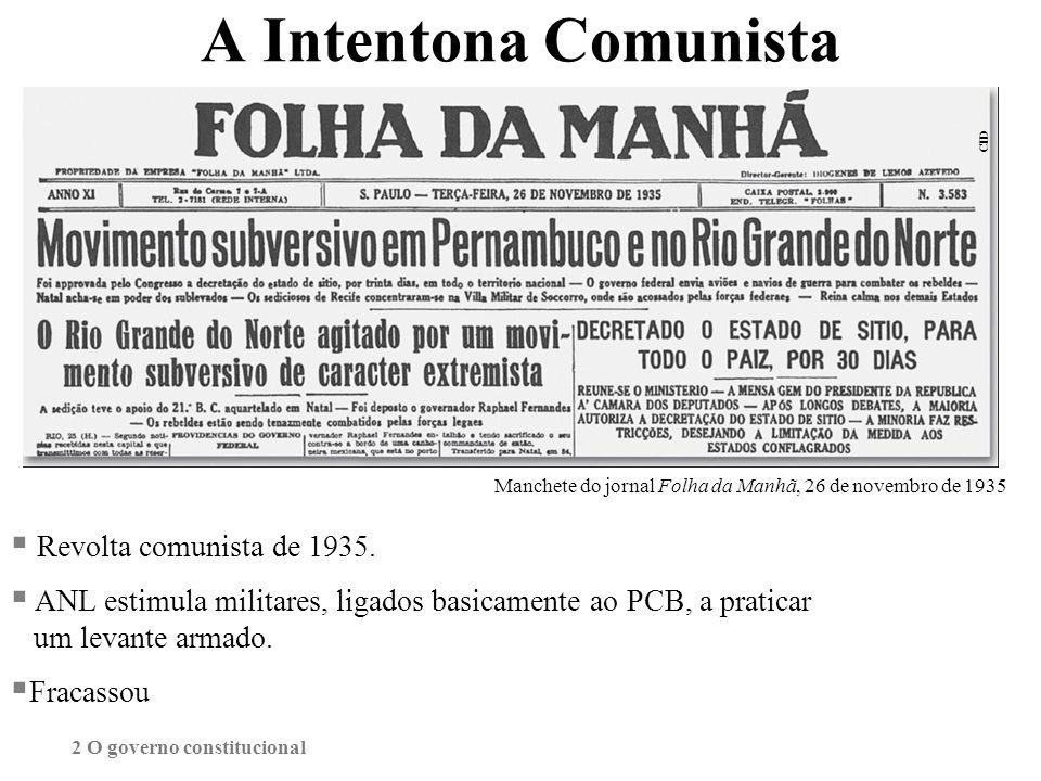 A Intentona Comunista Revolta comunista de 1935. ANL estimula militares, ligados basicamente ao PCB, a praticar um levante armado. Fracassou Manchete