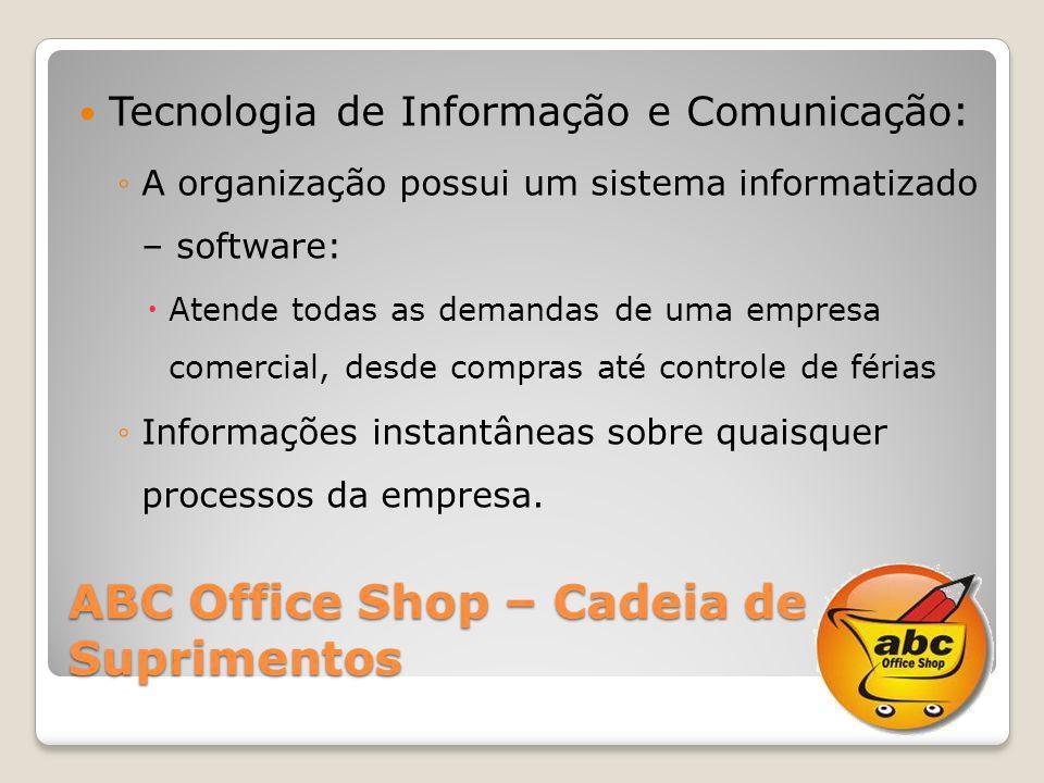 ABC Office Shop – Cadeia de Suprimentos Tecnologia de Informação e Comunicação: A organização possui um sistema informatizado – software: Atende todas