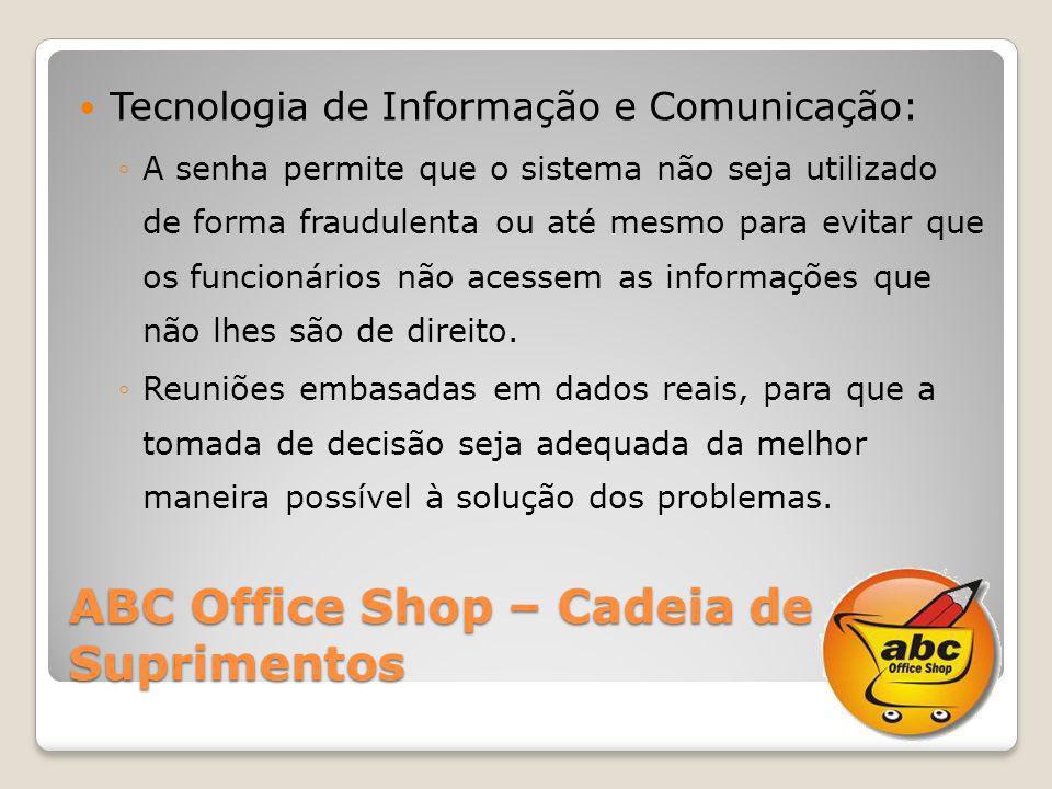 ABC Office Shop – Cadeia de Suprimentos Tecnologia de Informação e Comunicação: A senha permite que o sistema não seja utilizado de forma fraudulenta