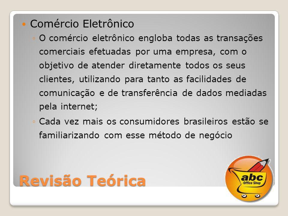 Revisão Teórica Comércio Eletrônico O comércio eletrônico engloba todas as transações comerciais efetuadas por uma empresa, com o objetivo de atender